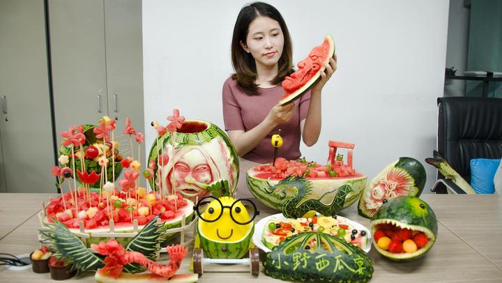 辦公室小野純手工雕刻西瓜宴,驚艷全場,又甜又酷炫。
