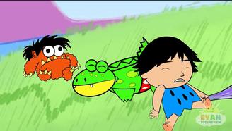儿童与恐龙玩耍