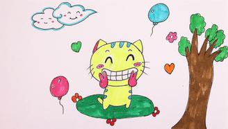 小爱的手作日记 带孩子画一只快乐的小猫咪