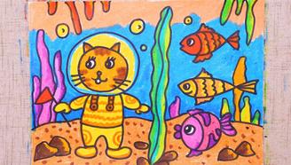 小爱的手作日记 儿童画小猫和小鱼
