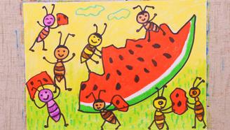 小爱的手作日记 儿童画蚂蚁和西瓜
