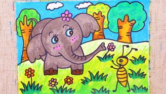 小爱的手作日记 儿童画蚂蚁和大象