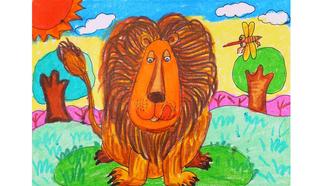 小爱的手作日记 儿童画威猛的狮子