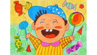小爱的手作日记 儿童画大嘴娃娃