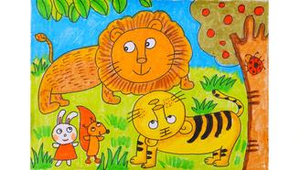 小爱的手作日记 儿童画老虎和狮子的相遇图片