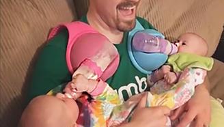 这喂奶神器,一个老爸轻松给两小孩喂奶,融得千万美金