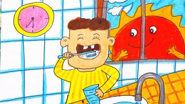 儿童画场景故事 可爱的小朋友爱刷牙