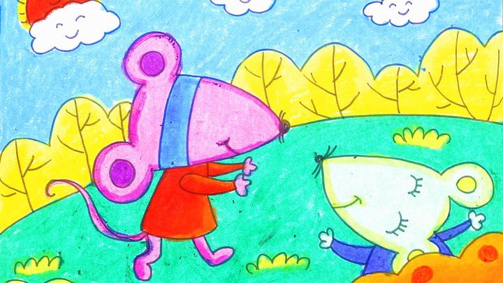 儿童画场景故事 小老鼠做游戏